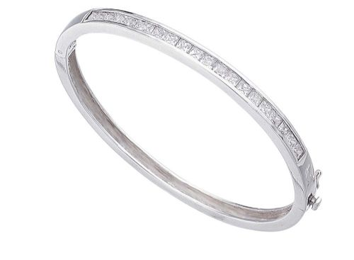Oval Cubic Zirconia Silver Channel Set Bangle